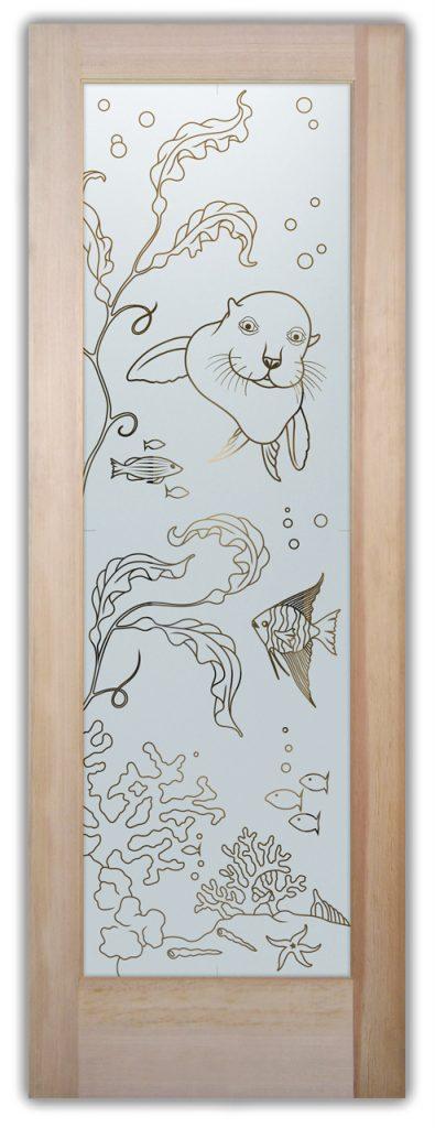 Sans Soucie Etched Glass Doors Oceanic sea lion