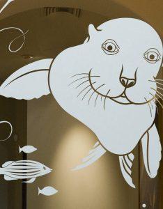 Sans Soucie Etched Glass Doors Tropical sea lion