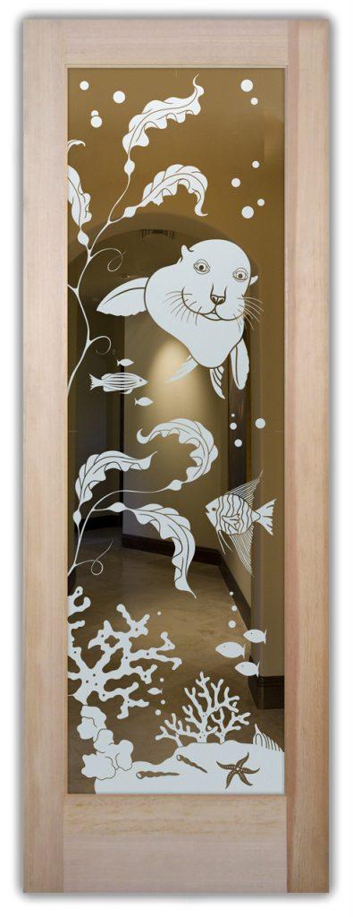 Etched Glass Doors Tropical sea lion Sans Soucie