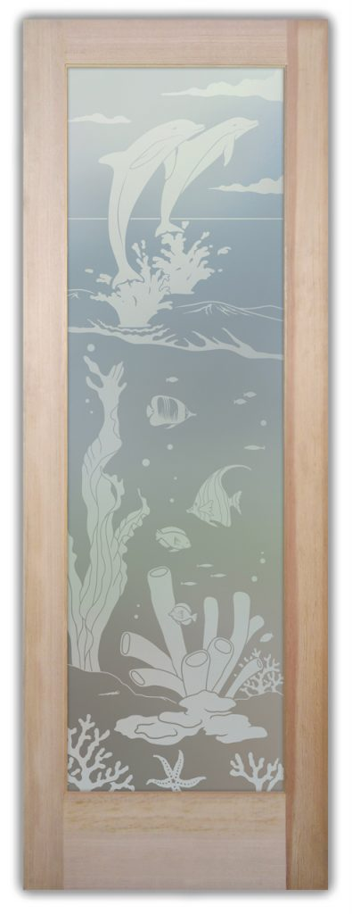 Aquarium Dolphins 1D Private Etched Glass Door