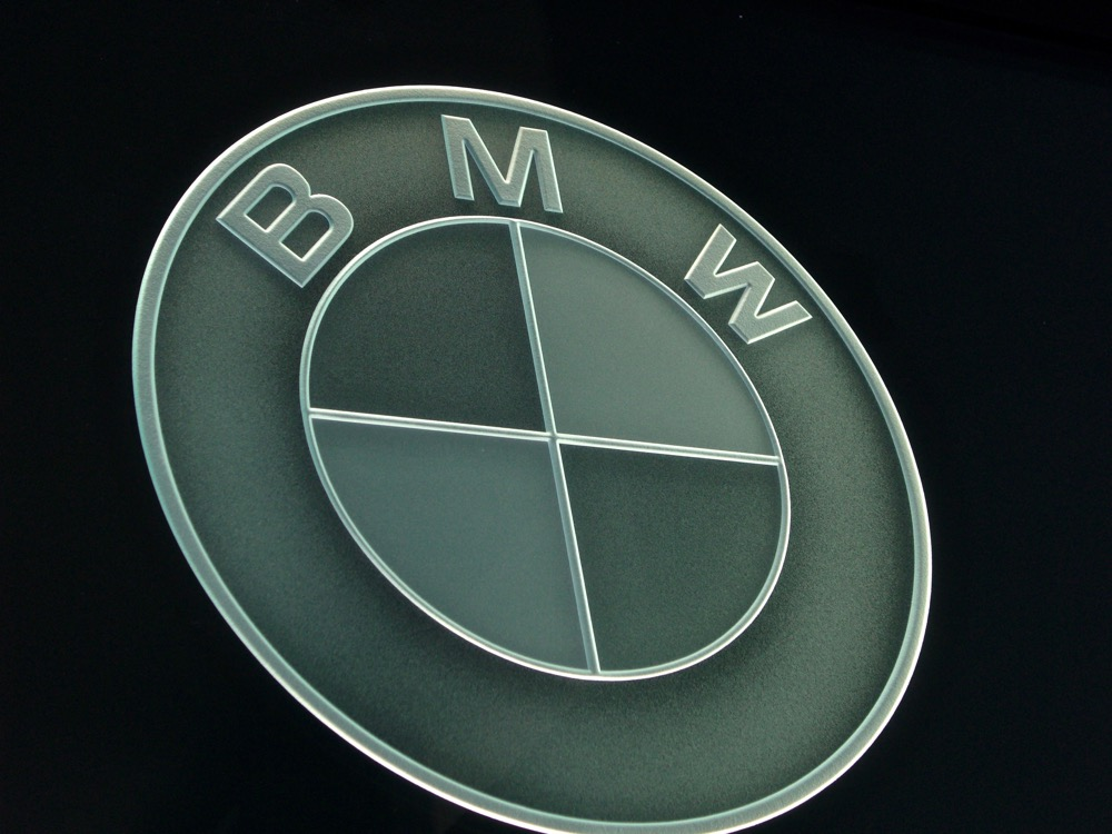 Glass Signs Carved Glass Logo BMW Sans Soucie