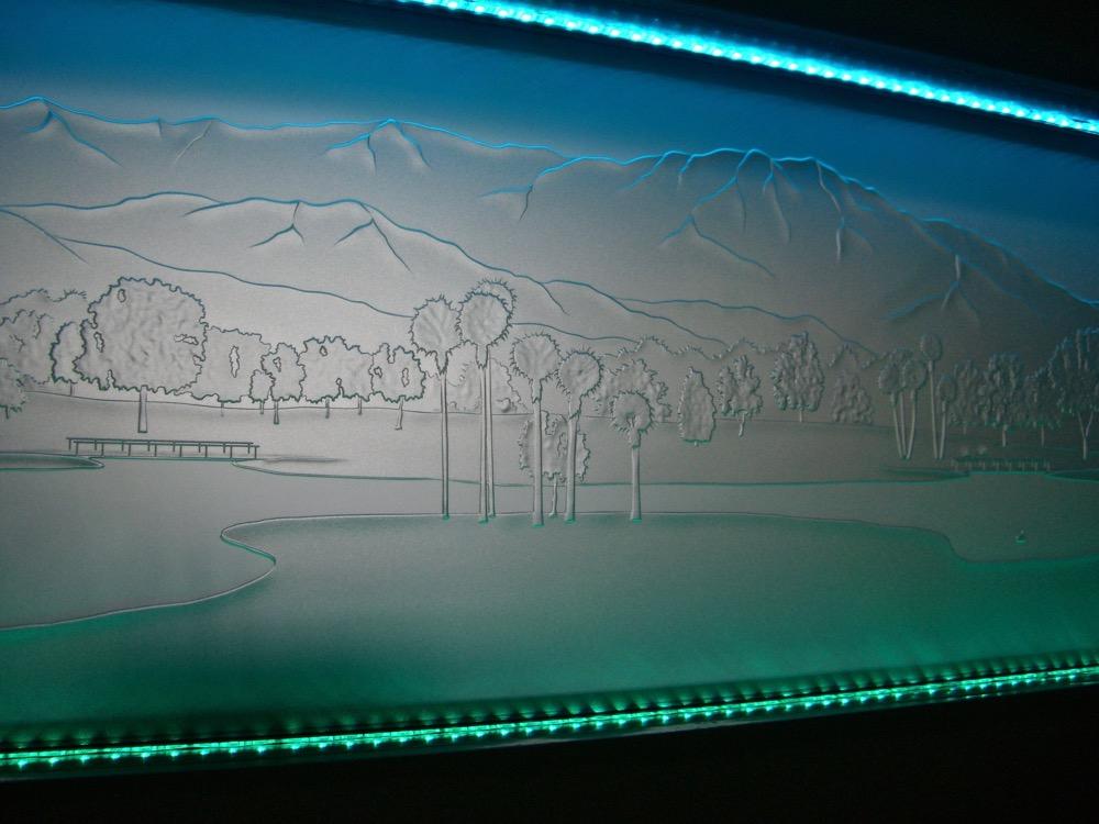 Glass Backsplash Etched Glass Landscape Sans Soucie
