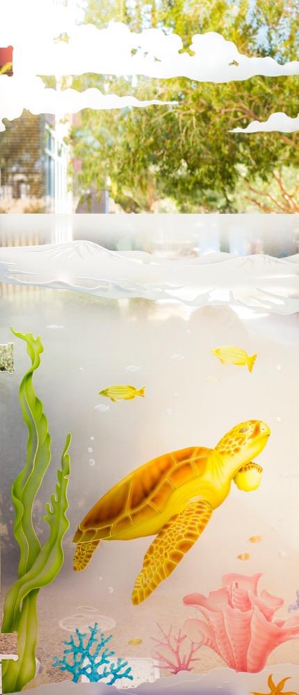 Door Glass Inserts Etched Glass Wildlife sea turtle Sans Soucie