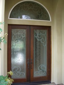 Glass Entry Doors and Transum Carved Glass Mediterranean Sans Soucie