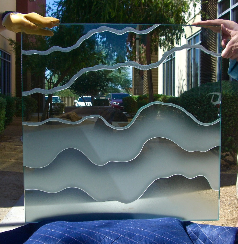 Glass Tables Etched Glass Abstract Oceanic Sans Soucie