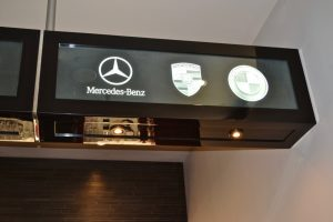 Sans Soucie Glass Signs Etched Glass Exotic Car Logos