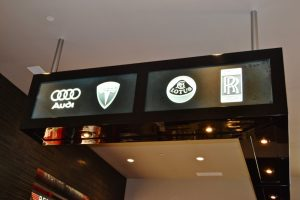 Sans Soucie Glass Signs Carved Glass Logo Tesla