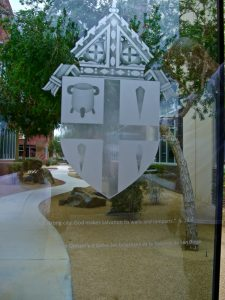 Sans Soucie Etched Glass Windows Traditional family crests