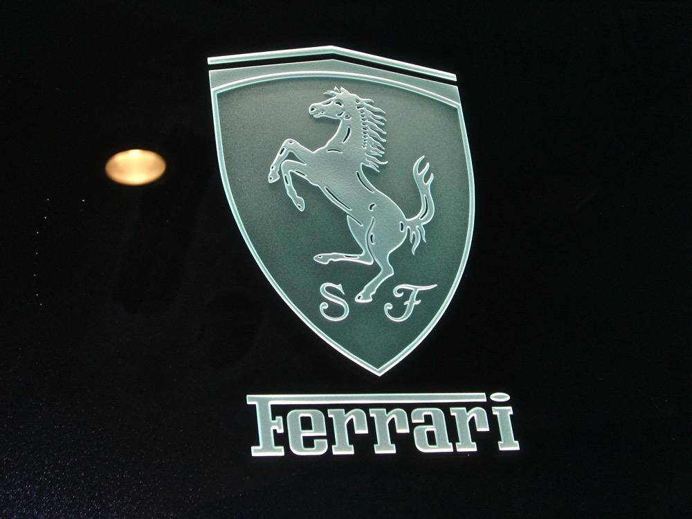Glass Signs Etched Glass Logo Ferrari Sans Soucie