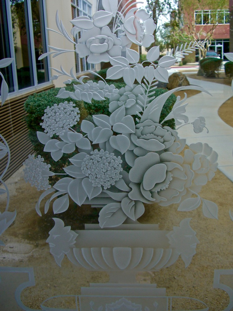 Door Glass Inserts Etched Glass Floral Sans Soucie