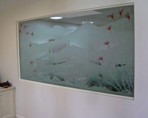 Sans Soucie Etched Glass Windows Desert