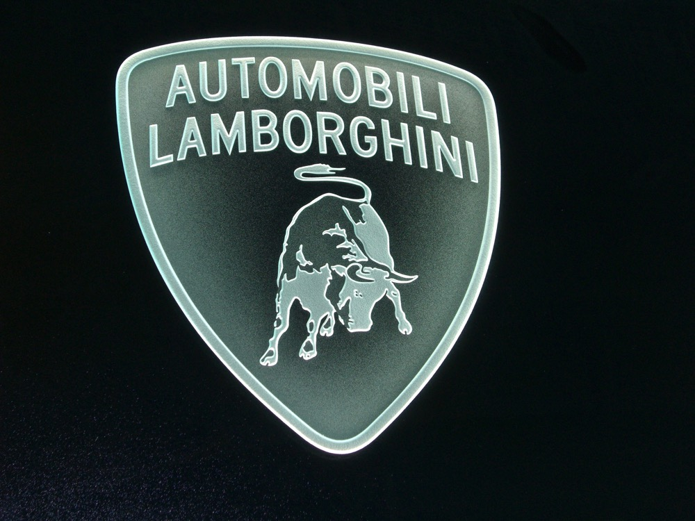 Glass Signs Etched Carved Glass Logo Lamborghini Sans Soucie