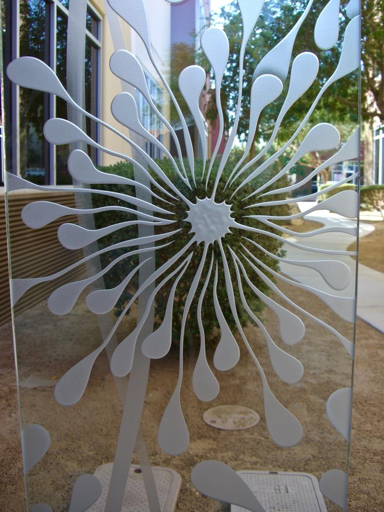 Door Glass Inserts Etched Glass Floral dandelion Sans Soucie