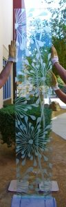 Sans Soucie Door Glass Inserts Etched Glass Floral dandelion
