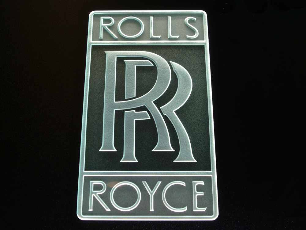 Glass Signs Etched Glass Logo Rolls Royce Sans Soucie