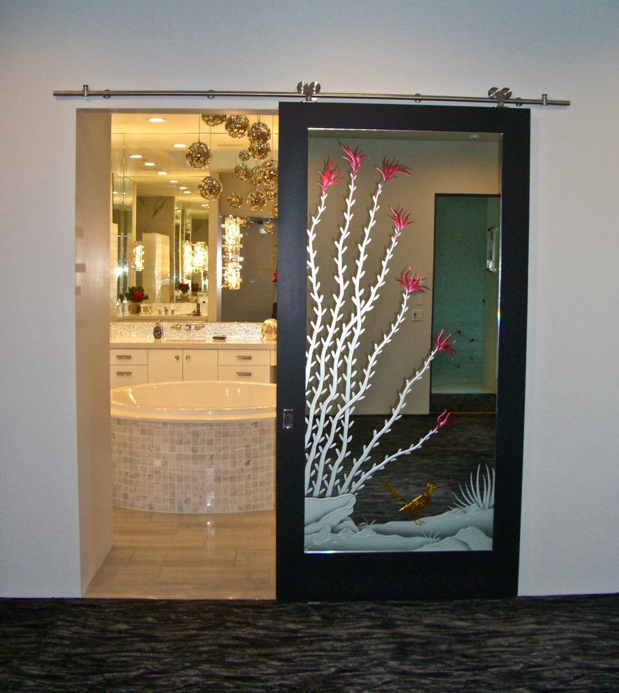 ocotillo roadrunner 3d painted mirror interior glass door sans