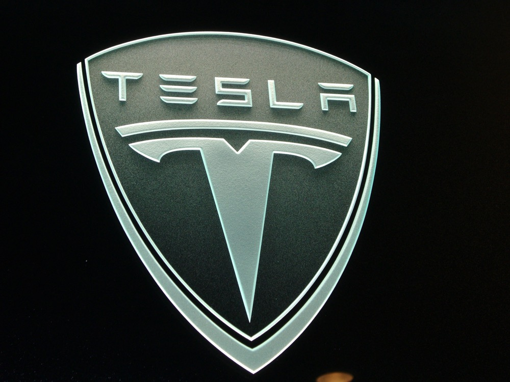 Exotic Car Tesla 3d Carved Glass Signs Sans Soucie Art Glass