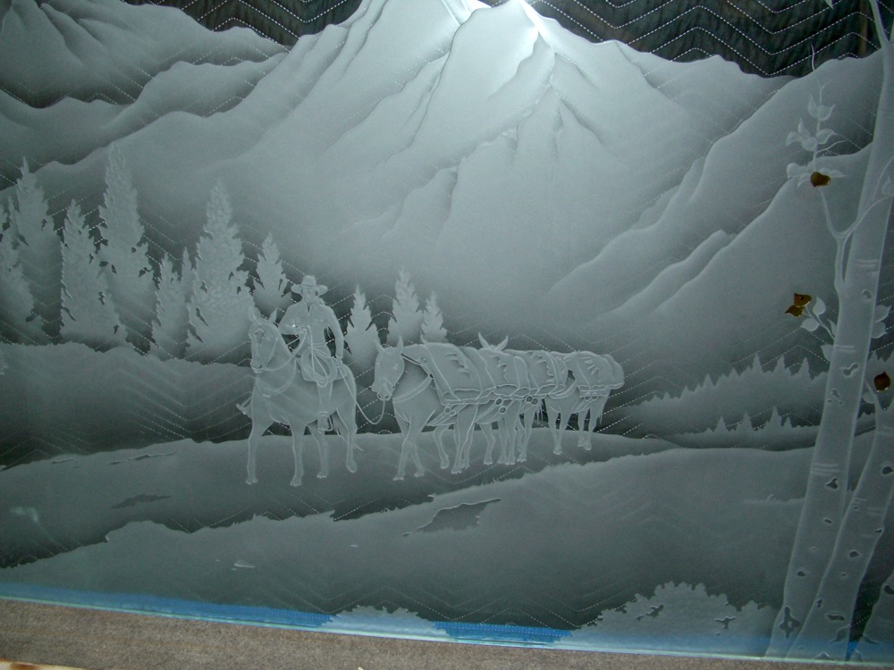 Rocky Mountains Landscape 3d Etched Glass Windows Sans