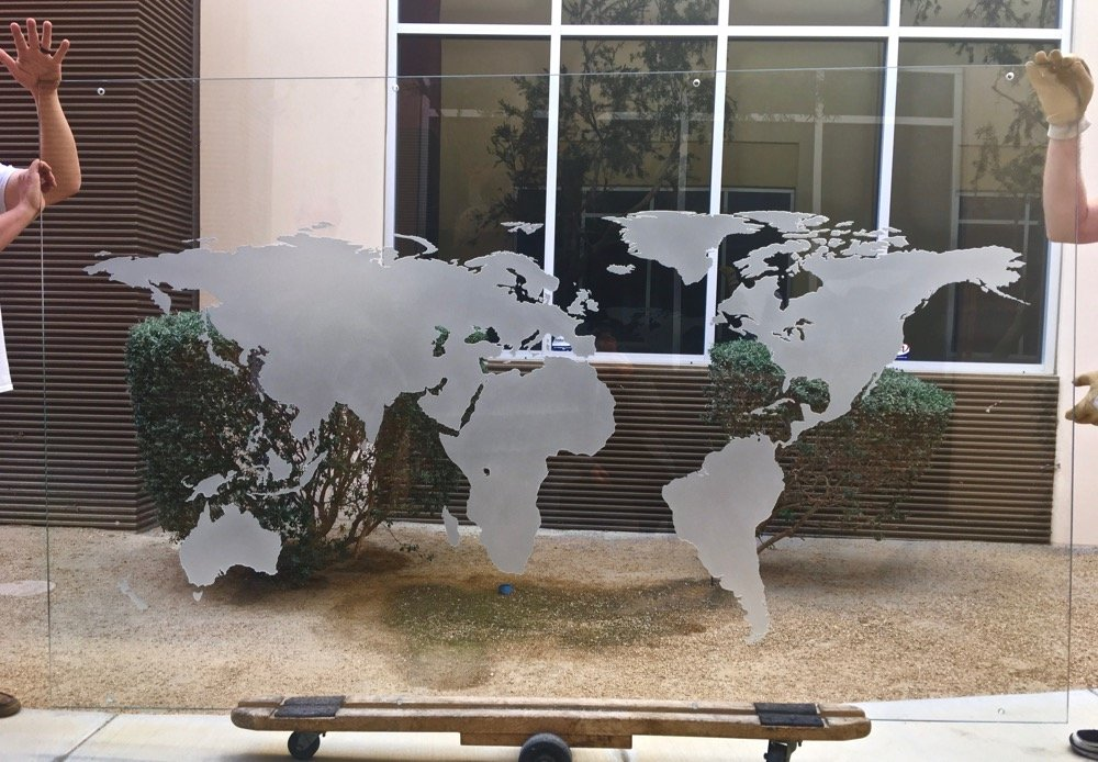Glass Wall Art Etched Glass World Map Sans Soucie