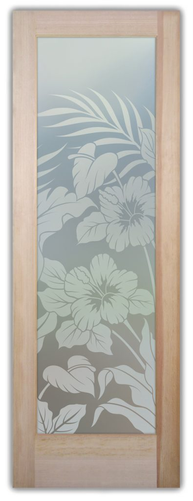 Hibiscus Anthurium 1D Private Etched Glass Doors