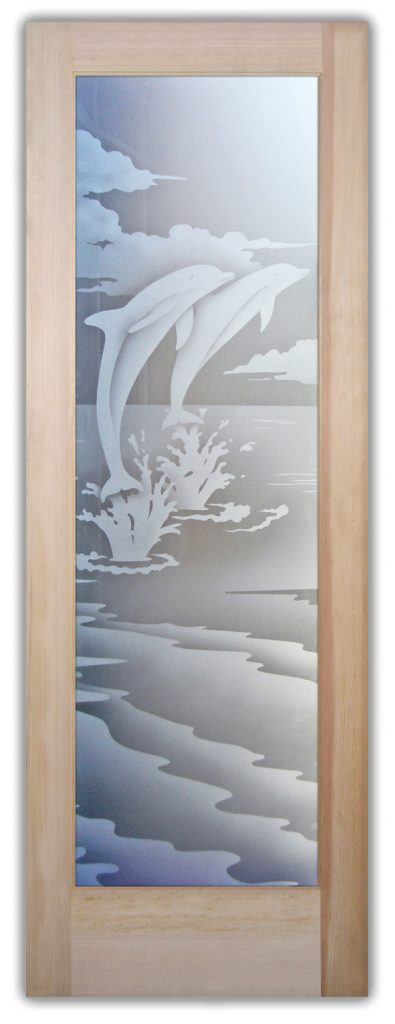 Etched Glass Doors Tropical Wildlife dolphins Sans Soucie