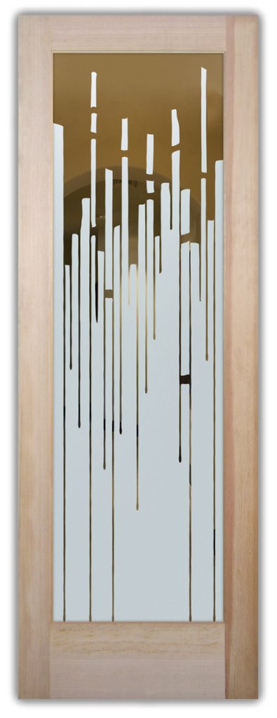 Trickle 1D Negative Etched Glass Door