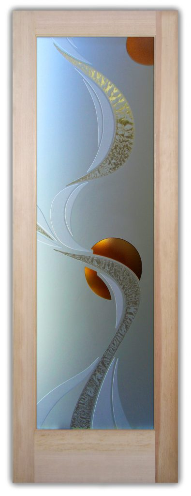 Ribbon Reflection Moons 3D Gluechip Painted Glass Door