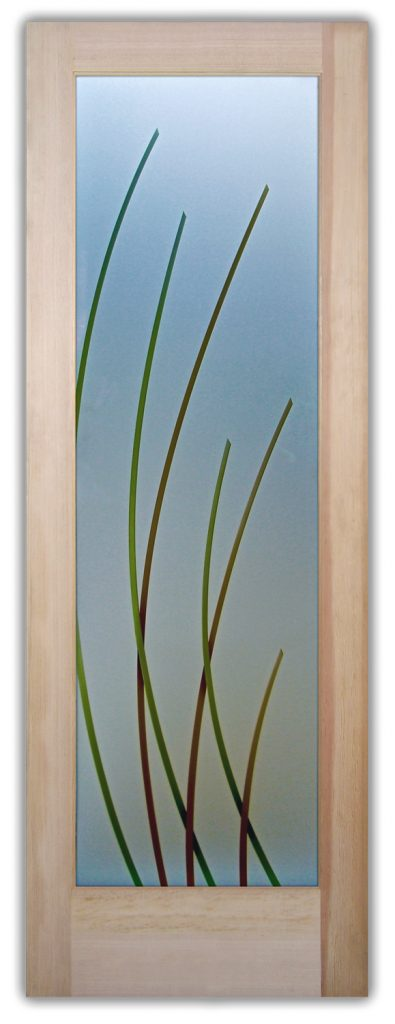 Sleek Arcs 3D Private Painted Etched Glass Door