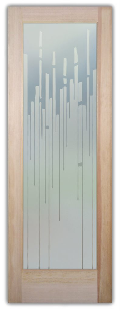 Trickle 1D Private Etched Glass Door