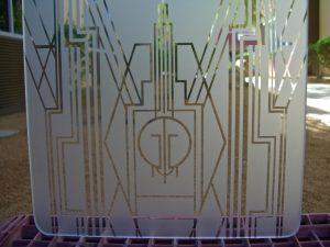 Art Deco Border with Initials 1D Etched Glass Sans Soucie Art Glass close up