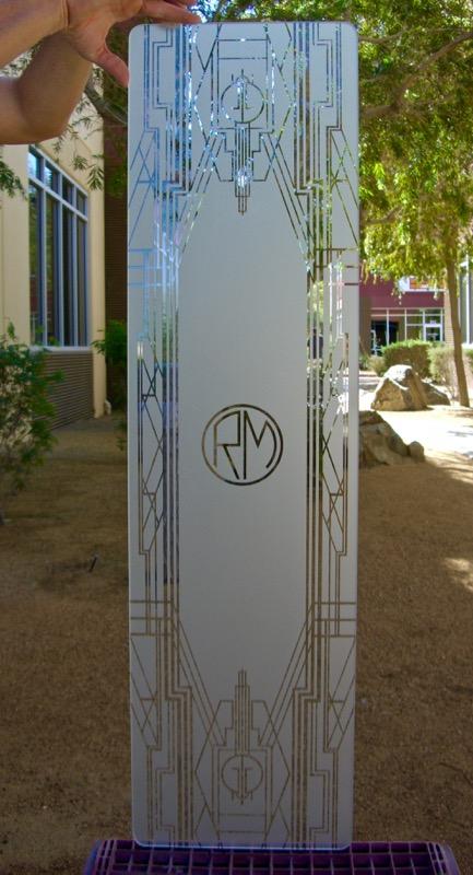 Art Deco Border with Initials 1D Etched Glass Sans Soucie Art Glass
