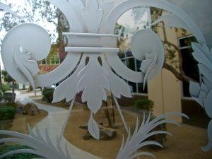 Floral Vase 3D Carved Door Glass Insert Sans Soucie Art Glass