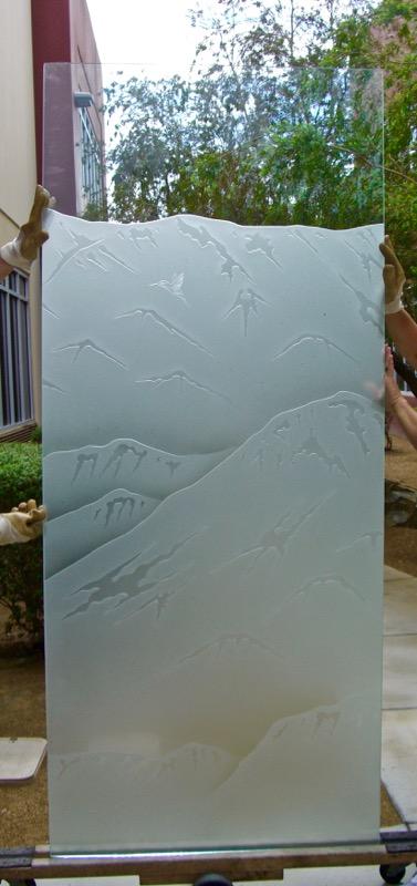 La Quinta Mountain and Hummingbird 3D Carved Glass Window Sans Soucie Art Glass