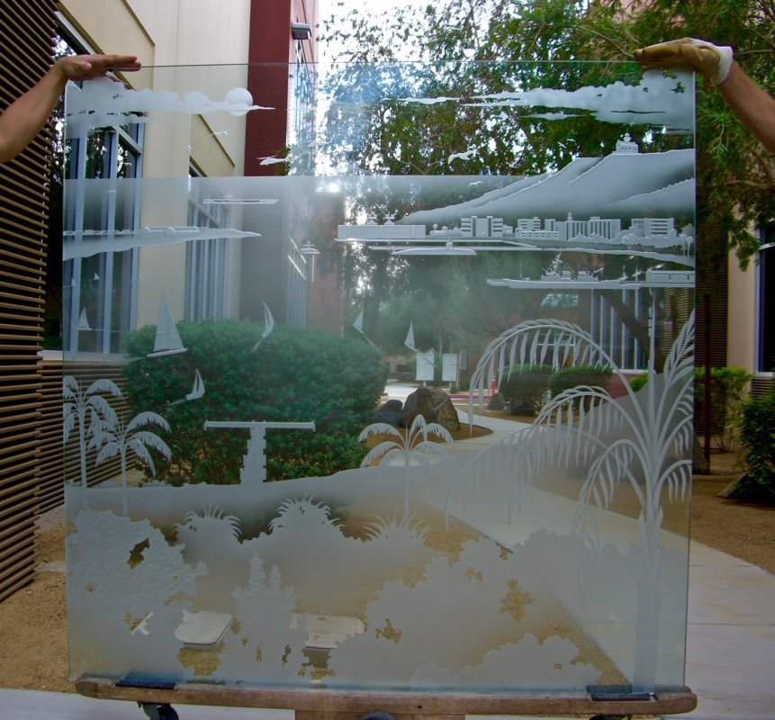 San Diego Coast 3D Carved Glass Windows