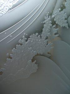 Crashing Wave 3D Carved Glass Window Sans Soucie Art Glass