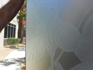 Dogwood Flower 3D Private Floral Etched Glass Sans Soucie