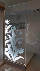 Shower Panels Plumeria Small 3D Etched Glass Floral flowers Sans Soucie