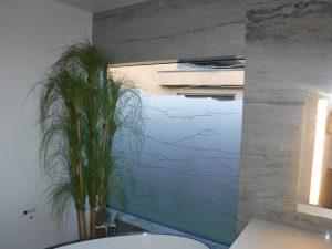Window Granite 1D Negative nature rustic pattern Sans Soucie Art Glass
