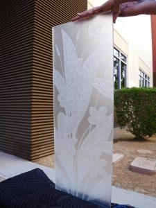 Plumeria Floral 3D Private Carved Glass Sans Soucie Art Glass