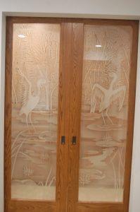 Asian Art Glass Doors Etched Glass Sans Soucie