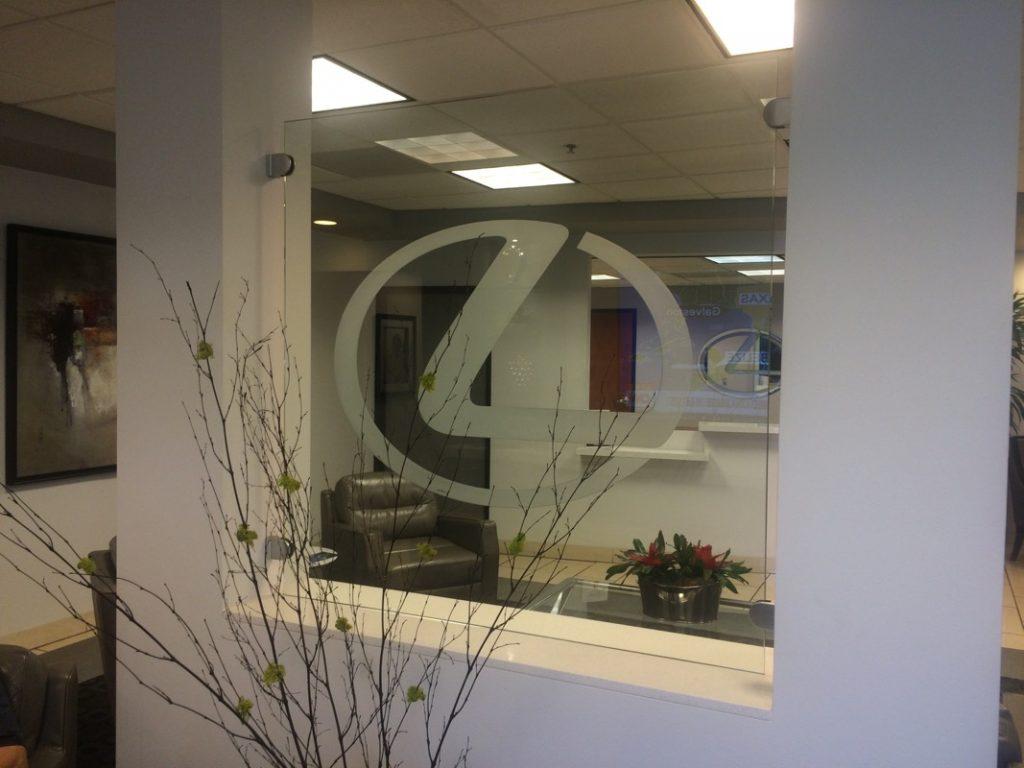 custom logo carved glass sign sans soucie