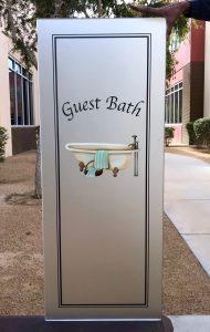 bathroom glass door insert