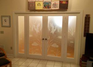 Etched Glass Doors Cranes 1D Private Asian Landscape Soucie