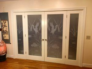 Etched Glass Doors Cranes 1D Private Wildlife Sans Soucie