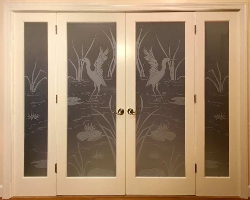 Etched Glass Doors Cranes 1D Private Asian Sans Soucie