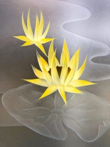 Window Lilly Pads Lotus 3D Carved and Painted Sans Soucie