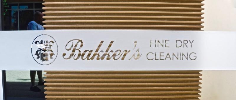 custom Glass Sign Bakker's Logo Etched Glass Sans Soucie