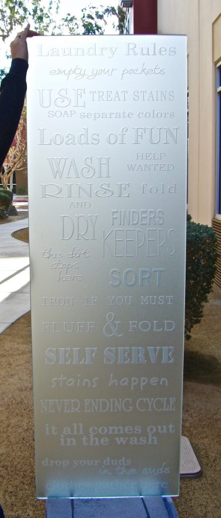 Door Glass Insert Laundry Rules 3D Private Etched Glass Sans Soucie