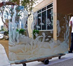 Partition Aquarium with Seahorse 2D Etched Glass Sans Soucie