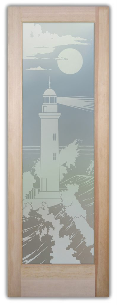 Lighthouse Beaming 1D Private Etched Glass Doors